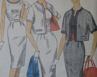 Simplicity 3398, early 1960s sleeveless dress and short jacket