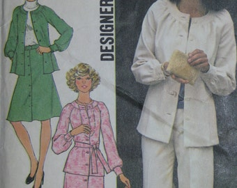 Simplicity 7123, 1970s top, skirt, and pants