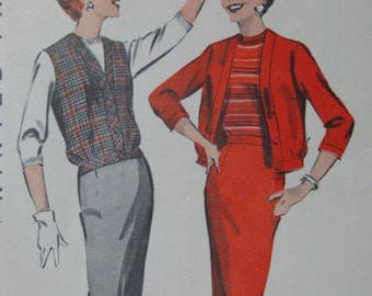 Butterick 8664, 1950s blouson jacket, jerkin, and slim skirt