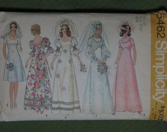 Simplicity 5462, early 1970s wedding or bridesmaid's dress