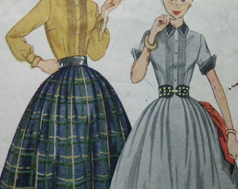 Simplicity 4096, early 1950s dress with tucked bodice