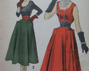 Advance 5385, early 1950s blouse, skirt, and cummerbund