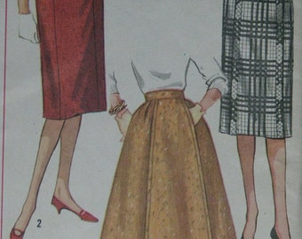 Simplicity 3161, late 1950s slim or flared skirt