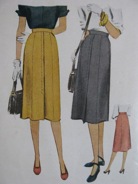 McCall 6746, 1940s 7-gore skirt with front pleat