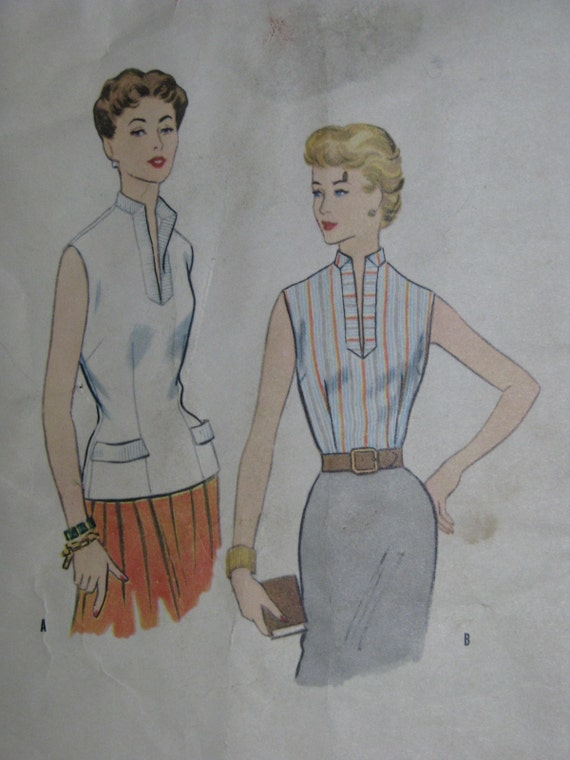 McCall's 3162, 1950s sleeveless blouse