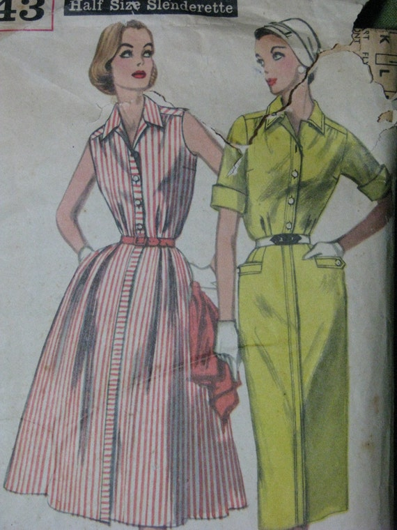 Simplicity 2043, 1950s shirtdress with full or slim skirt