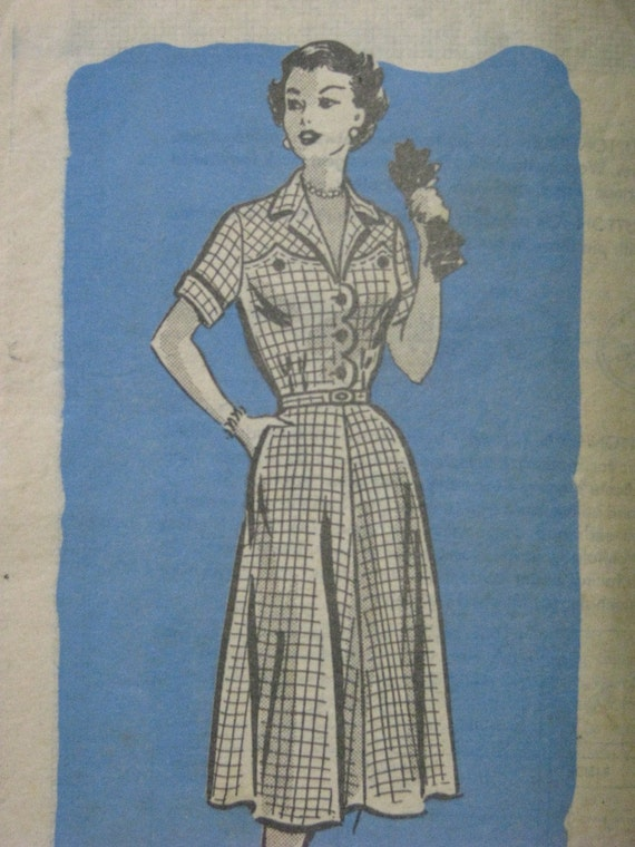 Anne Adams 4528, early 1950s dress with scalloped details