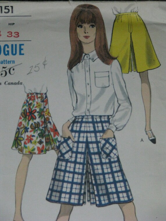 Vogue 7151, 1960s culottes