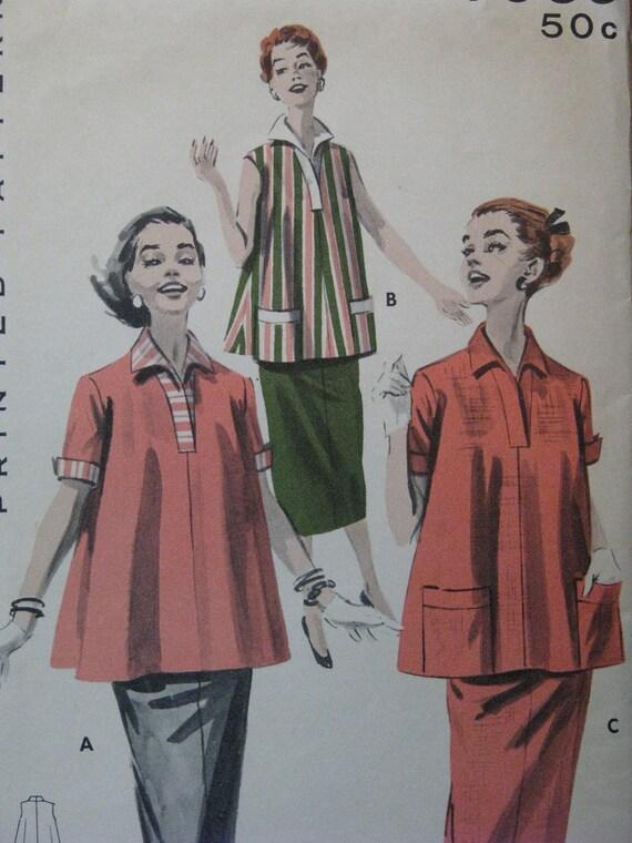 1950s vintage pattern, maternity smock and skirt, Butterick 7969