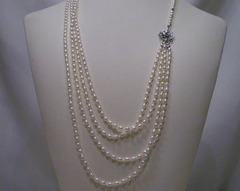 Victorian Freshwater Pearl 4 Strand Necklace