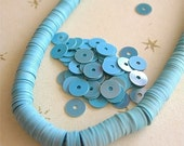 Vintage Sequins FRENCH Slate BLUE couture lot full strand flat medium blue opaque 5mm Belgium