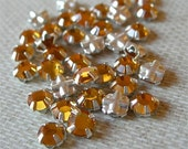 Vintage Swarovski Rose Montees 5mm Sew-ons LIGHT TOPAZ silver channel settings Austrian crystal glass lot of 18