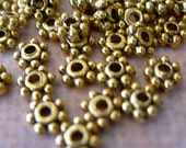 Tiny Daisy Spacer Beads GOLD Bronze Brass 4mm lot of 100