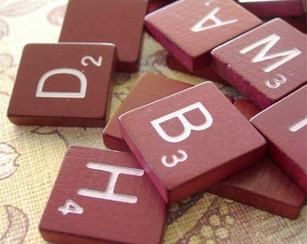RED Wooden Scrabble Tiles lot of 20 secondhand
