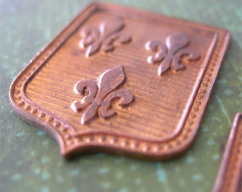 Vintage Jewelry Stampings Fleur de Lis Coat of Arms copper shield lot of 1