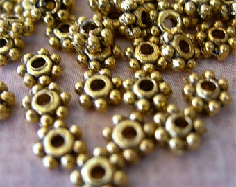 Tiny Daisy Spacer Disk Beads GOLD Bronze Brass 4mm lot of 100 Jewelry Studio Essentials