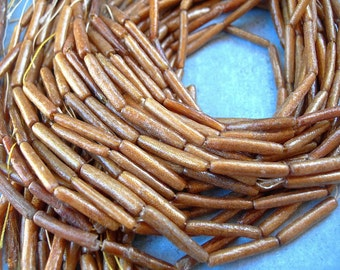 """Honey Gold Bamboo Coral Tube Beads 18mm 16"""" strand 22 beads NATURAL ELEMENTS"""