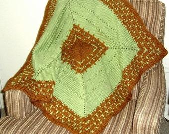 Green Rust Baby Afghan Blanket for Crib, Stroller, Car seat, wheelchair -