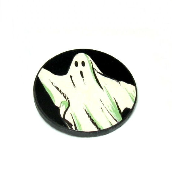 Spooky Boo Ghost Jewelry Black and White Ghost Brooch Circle Pin