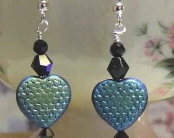 Black Frost Czech Pressed Glass Heart Earrings