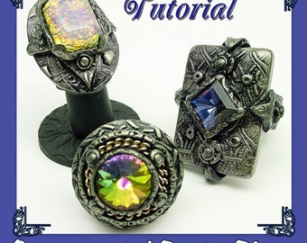 Ornamental Large Rings - Party Dinner Cocktail Concert Rings- Conversation pieces - Polymer Clay Tutorial - Digital PDF file Download