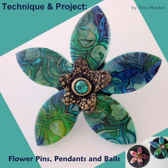 Technique and Project - Polymer clay - Batik Flower Pendants and Pins - Digital PDF Download