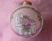 Baby Girls' Deluxe Personalized Birth Ornament, Original, Handpainted, Personalized, WITH DISPLAY STAND