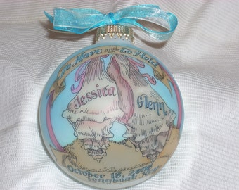 Beach Wedding  Keepsake Personalized Ornament, Handpainted and Personalized, WITH DISPLAY STAND