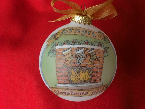 Stockings by the Fire DELUXE CUSTOM PERSONALIZED Ornament, Hand Painted and Original