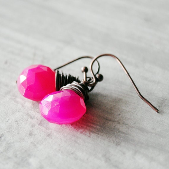 Raspberry Chalcedony Earrings Antique Copper Red Hot Pink Wire Wrapped