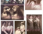 Vintage Photos Sisters Best Friends Ladies Women Printable Digital Collage Sheet Junk Journals Mini Albums Cards Scrapbooks Altered Art