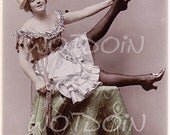 Pierrot Lady Art Deco Clown Costume Silk Stockings Lady in Funny Pose 1920s Instant Download Printable Image Transfer