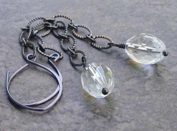 Long Glass and Gunmetal Dangle Earrings on Handmade Almond Earwires... Shoulder Dusters