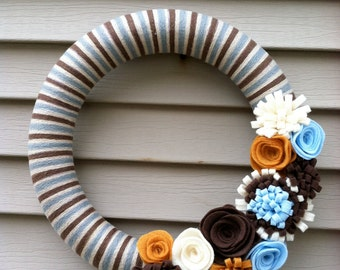 Winter Wreath - Felt Flower Wreath - Brown, Blue and Cream Yarn Wreath - Yarn Wreath - Winter Decor - Holiday Wreath - Yarn Felt Wreath