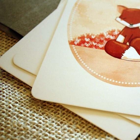 SALE Set of 10 Fox Postcards - Little Fox Hearts You - 4 x 6 fox woodland heart love orange brown