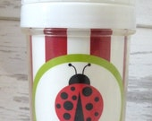 LadyBug Toddler Spill Proof Sippy Cup - personalized - great birthday gift - new baby gift - children's tableware