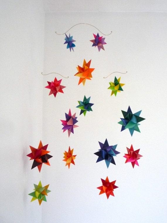 Hanging Nursery Origami Star Mobile 'Vela' by StarCraftStars