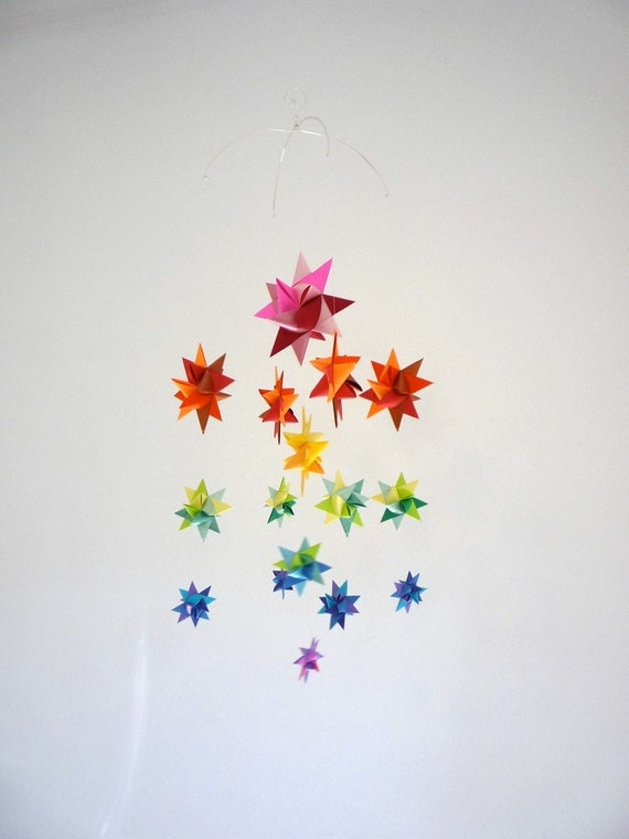 baby crib mobile hanging origami stars milky way by