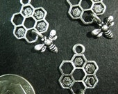 10 honey bee and comb dangle charms, silver plated, 25x13mm