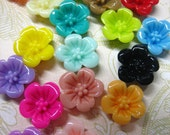 20 multi color 13mm cherry blossom cabochons, cute resin flower cluster cabs