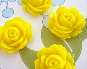 4 yellow cabbage rose cabochons 26x22mm flower cabs