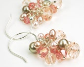 ON SALE Silk Crystal and Pearl Cluster Earrings