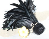 Jet black iridescent coque feathers 10-12 inch length-rooster feathers-Tahitian dance costume supply