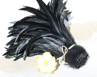 Jet black coque feathers 10-12 inch length-rooster feathers-Tahitian dance costume supply