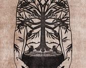 Man's Trunk Raven Tattoo Papercut Print