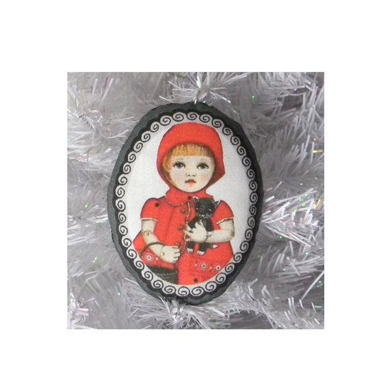 Little Red Riding Hood and Wolf-- Folk Art Original Christmas Ornament-- Printed and Stuffed Fabric