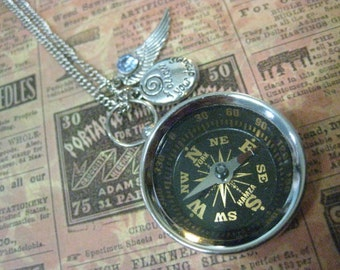 Compass Necklace Follow Your Dreams Graduation Gift Quote Compass Silver Compass Engraved Compass Compass Charm Compass Pendant Graduation