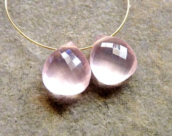 AA-AAA Rose Quartz Faceted Heart Briolettes - 8mm - PAIR