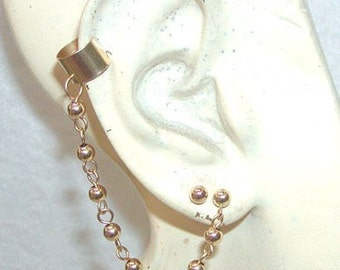 Sexy Gold Ear Cuff with Bead Chain and Post Earring