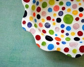 Rainbow Polka-Dot Wavy Rimmed Dish- Colorful Pottery Serving Piece